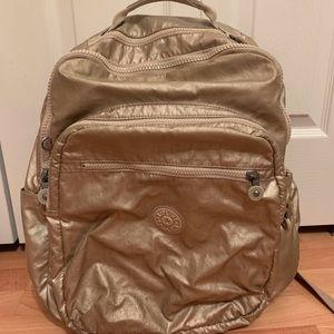 Gold Metallic Kipling Backpack